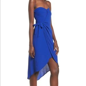 Astr the label royal blue strapless wrap dress